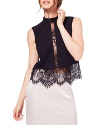 Miss Selfridge Highneck Lace Shell Black