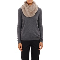 Barneys New York Knitted Fur Cowl Gray