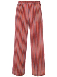Aspesi Striped Flare Trousers Orange