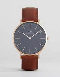 Daniel Wellington Classic Black St Mawes Leather Watch With Rose Gold Dial 40Mm Brown