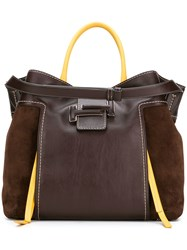 Tod's Double T Shopper Tote Brown