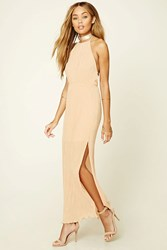 Forever 21 Halter Neck Maxi Dress Peach