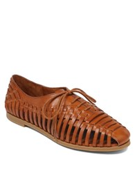Jessica Simpson Sorbett Leather Woven Flats Brown