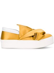 N 21 No21 Slip On Satin Sneakers Yellow Orange
