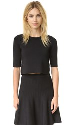 Lela Rose Ottoman Knit Top Black