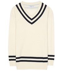 Frame Varsity Wool And Cashmere Sweater White