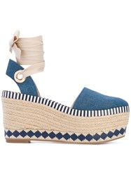 Tory Burch Espadrille Wedges Women Cotton Leather Rubber 39 Blue