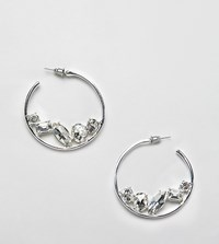 Designb London Crystal Hoop Earrings Silver