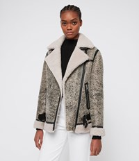 Allsaints Rei Shearling Biker Jacket Aries White Black