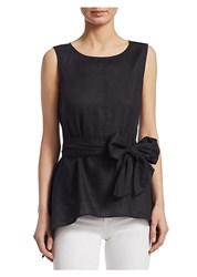 Saks Fifth Avenue Collection Tie Front Blouse Black