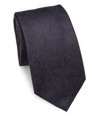 Saks Fifth Avenue Printed Silk Tie Navy