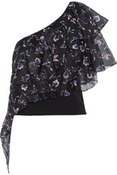Noir Sachin And Babi Alba One Shoulder Floral Print Voile Stretch Cady Top Purple