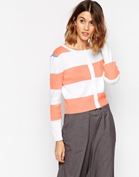 Le Mont St Michel Striped Cardigan Whitepinkblue