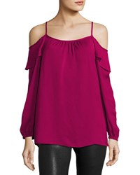 Neiman Marcus Woven Cold Shoulder Top Wine
