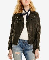 Denim And Supply Ralph Lauren Leather Moto Jacket Polo Black