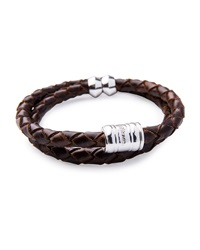Men's Woven Leather Bracelet Brown Silvertone Miansai