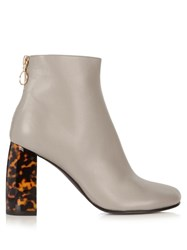 Stella Mccartney Tortoiseshell Block Heel Faux Leather Ankle Boots Grey