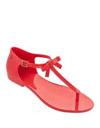 Melissa Open Toe T Strap Sandals Red