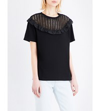 Sandro Open Knit And Cotton Jersey Top Black