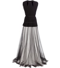 Giambattista Valli Pleated Silk Crepe And Tulle Dress Black