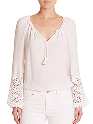 Elie Tahari Silk Peasant Blouse White