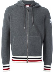 Moncler Gamme Bleu Waffle Knit Hooded Sweater Grey
