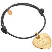 Merci Maman 18Ct Gold Plated Personalised Heart Bracelet Gold Grey