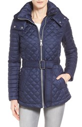 Andrew Marc New York Women's Marc New York Belted Hooded Mix Quilt Jacket Midnight