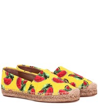 Dolce And Gabbana Printed Jacquard Espadrilles Yellow