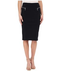Michael Michael Kors Zip Pointe Long Pencil Skirt New Navy Women's Skirt