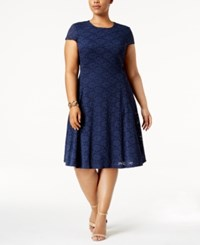 Alfani Plus Size Lace Fit And Flare Dress Only At Macy's Navy Nautical