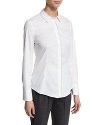 Brunello Cucinelli Monili Edged Stretch Poplin Blouse White