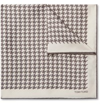 Tom Ford Houndstooth Silk Twill Pocket Square Neutrals