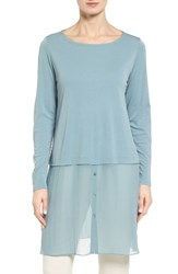 Eileen Fisher Women's Silk Ballet Neck Double Layer Tunic Blue Steel
