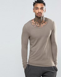 Asos Extreme Muscle Long Sleeve T Shirt With Scoop Neck In Beige Beige Brown