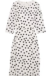 Dolce And Gabbana Polka Dot Cady Midi Dress White