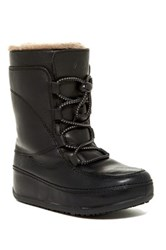 Fitflop Mukluk Moc Genuine Shearling Lined Lace Up Boot Black