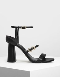 Charles And Keith Leather Infinity Buckle Sandals Black