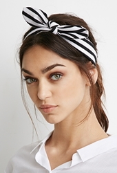 Forever 21 Textured Stripe Bow Headwrap Black Cream