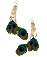 Thalia Sodi Gold Tone Peacock Feather Drop Earrings Only At Macy's