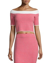 Jonathan Simkhai Gingham Stretch Off The Shoulder Crop Top Red White Red White