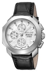 Roberto Cavalli By Franck Muller Sport Chronograph Leather Strap Watch Black Silver