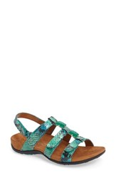 Vionic Women's 'Amber With Orthaheel Technology' Adjustable Sandal Teal Snake Faux Leather