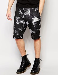 Religion Jersey Shorts With Leaf Print Set Black