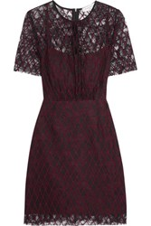 Sandro Reply Embroidered Lace Mini Dress Burgundy
