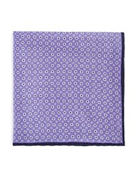 Bloomingdale's The Men's Store At Double Sided Circle Print And Solid Pocket Square Navy Purple