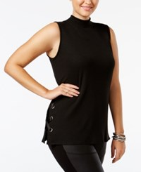 Soprano Trendy Plus Size Lace Up Shell Black