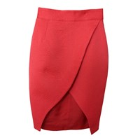 Etrala London Coral Wrap Pencil Skirt Red