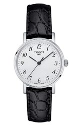Tissot Women's Everytime Leather Strap Watch 30Mm Black Silver