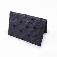 Volstruis Ostrich Leather Clamshell Wallet Black